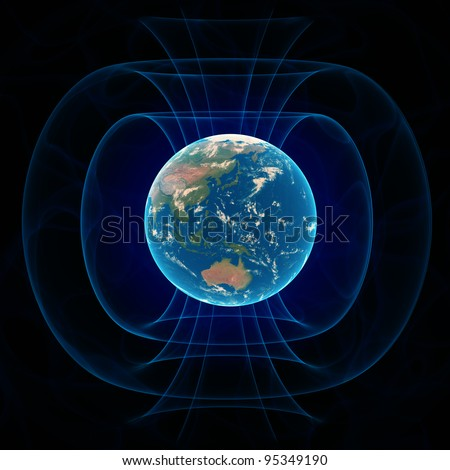 Earth's magnetic field - scientific illustration