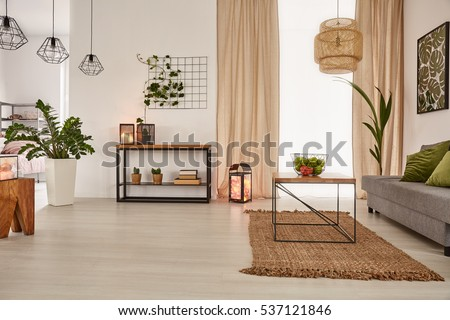 Earth's tones home interior with sofa and table