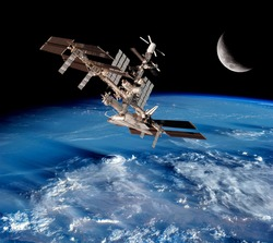 Earth satellite space station global network connection moon. Elements of this image furnished by NASA.