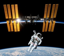Earth satellite space station spaceship astronaut spaceman. Elements of this image furnished by NASA.