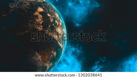 Earth Satellite view from space connected databases worldwide shipping concept (map supplied by NASA) business communication worldwide 3d rendering