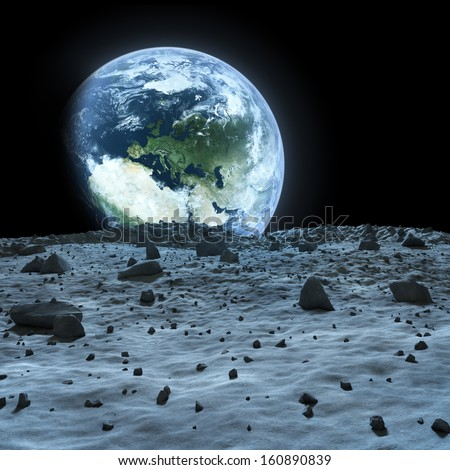 Earth seen from the moon. Elements of this image furnished by NASA