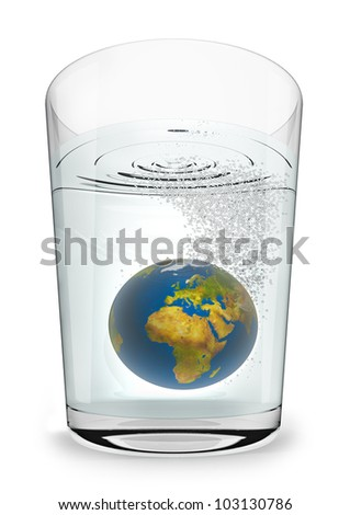 Earth seltzer 3D render of planet Earth fizzing in glass of water