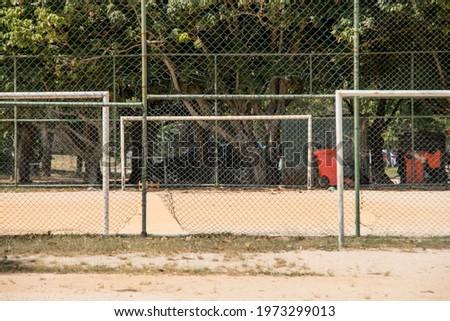 earth soccer field, known as varzea in rio de janeiro, brazil. Foto stock ©