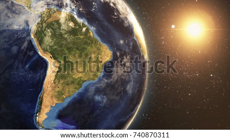 Earth Space View Night At South America From Space 3D illustration Elements of this image furnished by NASA