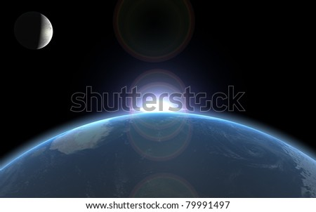 Earth sun and moon 3D