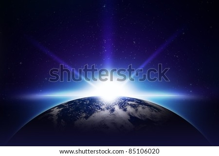 Earth Sunrise Illustration. Cool Sunrise Illustration. Earth and the Sun. Center Sunrise. Space Illustrations Collection