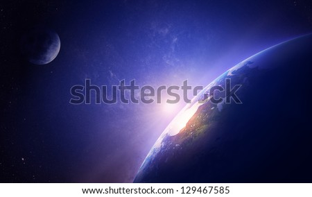 Earth sunrise in foggy space over North America (Elements of this image furnished by NASA- moonmap / earthmap for render  from http://visibleearth.nasa.gov)