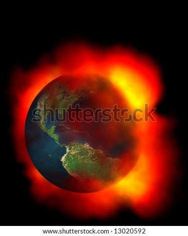 Earth surrounded by fire due to global warming