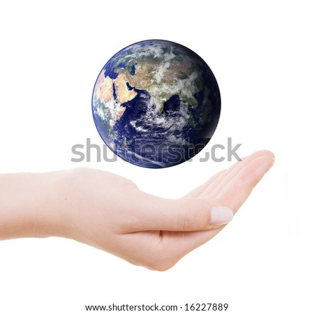 Earth surrounded by three hands.