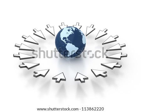 Earth Targeted with White Arrow - Render include the clipping path