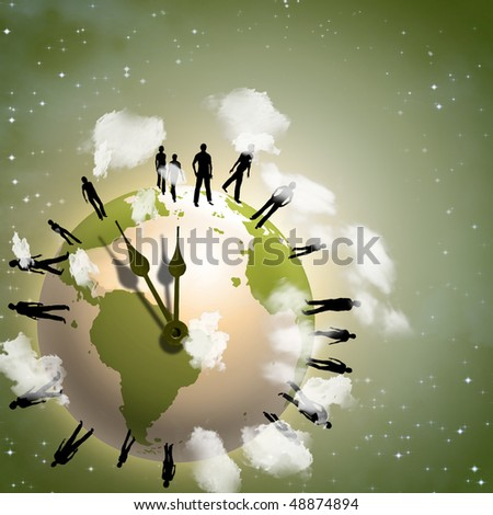 Earth time crowd - stock photo