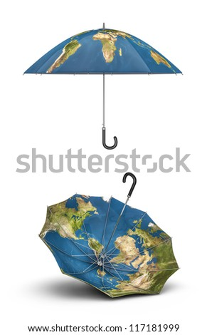 Earth umbrellas 3D render of umbrellas with map of planet Earth, Earth map texture source: cinema4dtutorial.net
