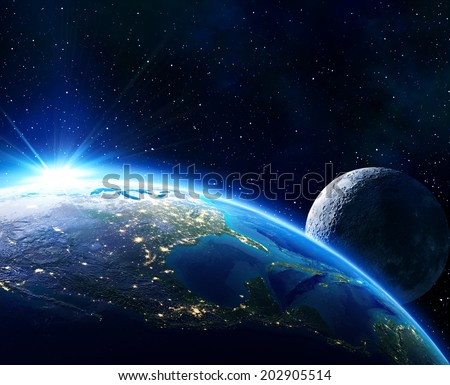 earth Usa, horizon and moon -  maps elements of this image furnished by NASA