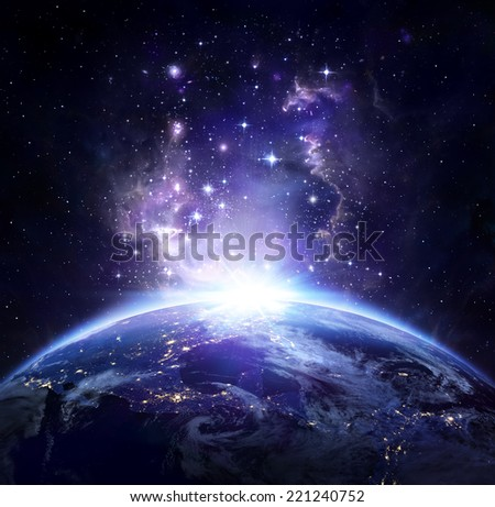 Earth view from space at night -  USA, elements of this image furnished by NASA