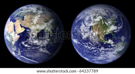 Earth view from space. Eastern and Western area. Digitally combined from Apollo 17 images from about 700km. - stock photo