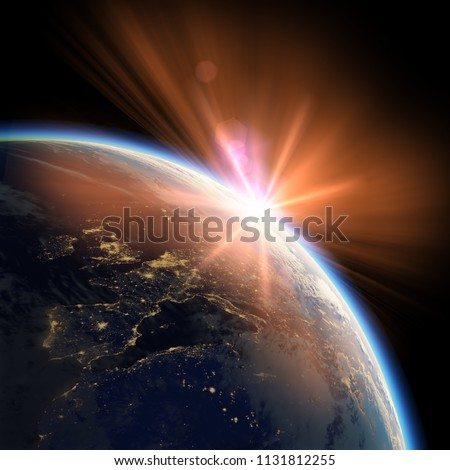 Earth view from space or spacestation location europe in low orbit with sunset, clouds and atmosphere, 3D Rendering