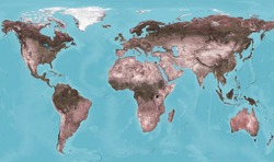 Earth view from space, world physical map with texture on satellite photo. Flat projection of globe, detailed continents surface on world map. Elements of this image furnished by NASA.