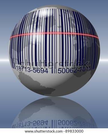 Earth with a bar code printed on it and a scanner going over it / Global shopping