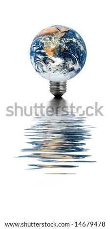 Earth with a light bulb base, reflecting in water