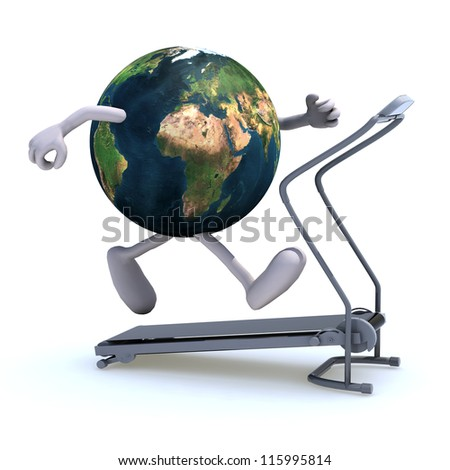earth with arms and legs on a running machine, 3d illustration. Elements of this image furnished by NASA