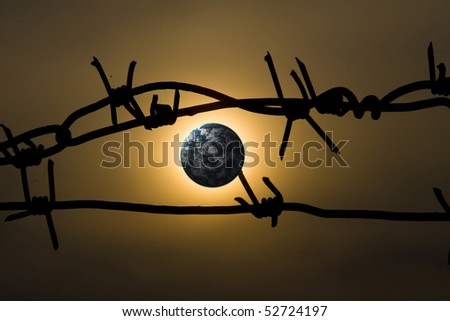 Earth with barbed wire, clipping path in prison.