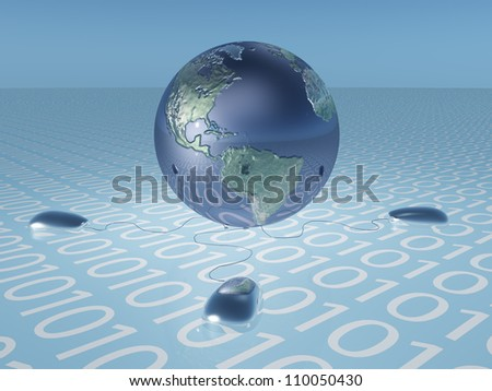 Earth with binary code and computer mice