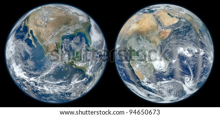 Earth with black background (Collage images from www.nasa.gov) - stock photo