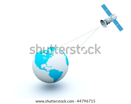 Earth with blue satellite isolated on white