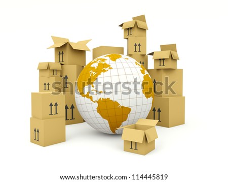 Earth with boxes isolated on white. Delivery and shipment concept - stock photo