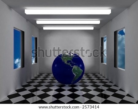 earth with bumps and ground reflection in a white room with neon and sky
