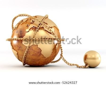 Earth with chain. 3d
