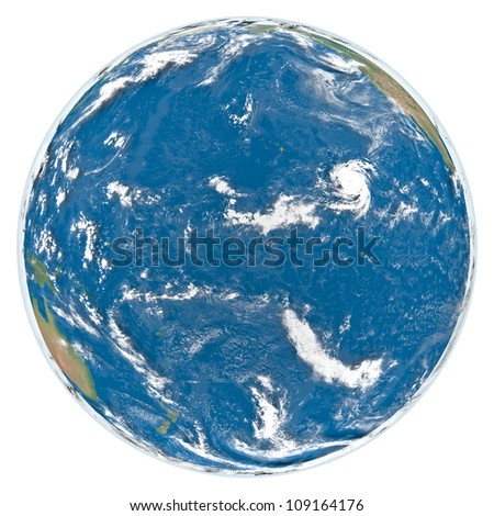 Earth with clouds and atmosphere isolated on white background facing Pacific Ocean. Elements of this image furnished by NASA