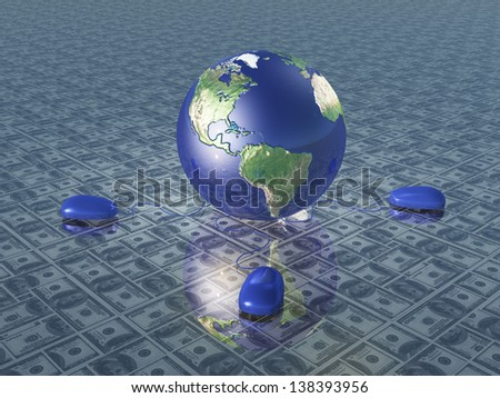 Earth with computer mice upon dollar surface