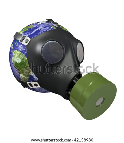 Earth with Gas Mask. Environmental Pollution Concept