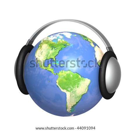 Earth with headphone - isolated over white #44091094