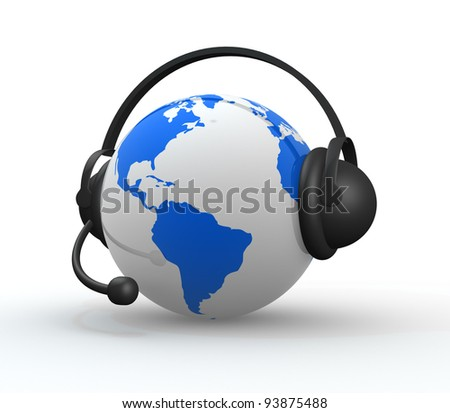 Earth with headphones. World music concept high detailed. 3d render