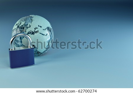 Earth with padlock on blue background. 3d