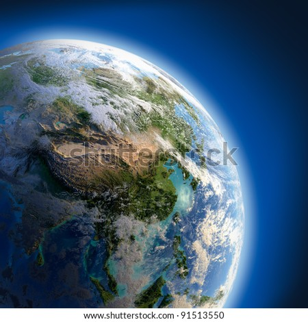 Earth with relief, high detailed surface, translucent ocean and atmosphere, illuminated by sunlight