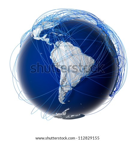 Earth with relief stylized continents surrounded by a wired network, symbolizing the world aviation traffic, which is based on real data. Elements of this image furnished by NASA. Isolated on white