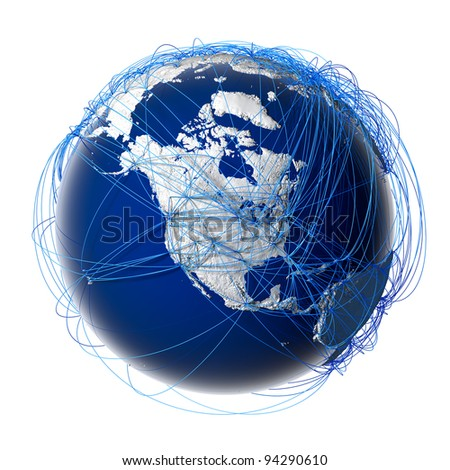 Earth with relief stylized continents surrounded by a wired network, symbolizing the world aviation traffic, which is based on real data on the carriage of passengers and flight directions