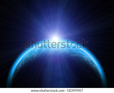 Earth with Rising Sun illustration background