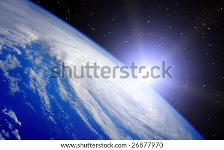 Earth with rising Sun illustration on Universe background