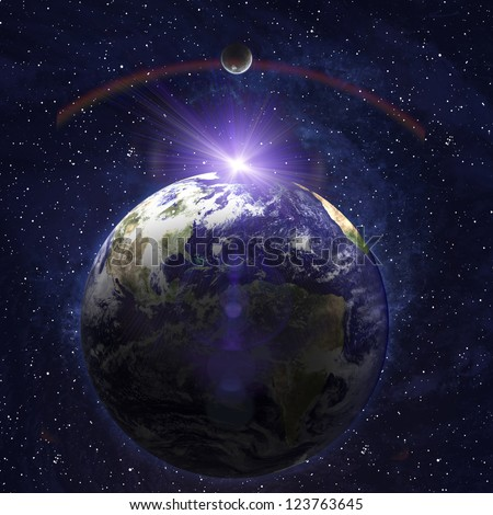 Earth with rising sun in space. Elements of this image furnished by NASA