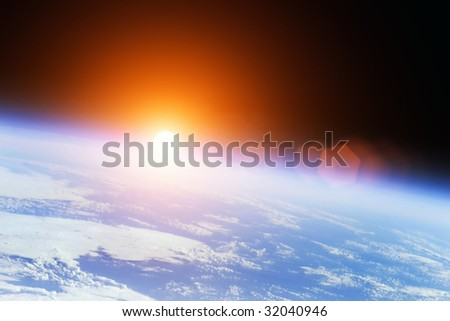 Earth with rising Sun outer illustration