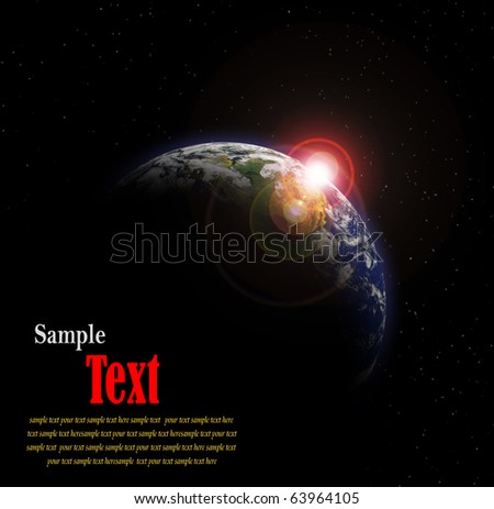 Earth with Rising Sun with Copy space for your text