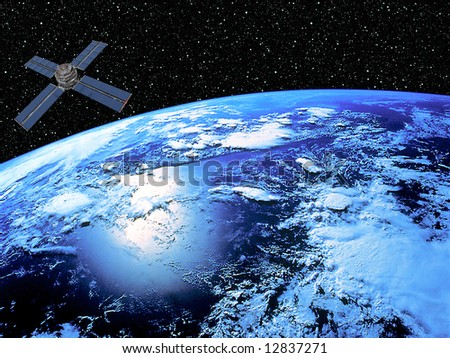 Earth With Satellite