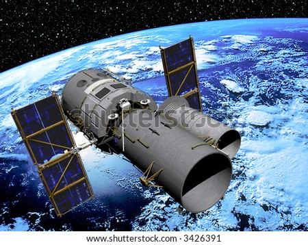 Earth with Space Telescope in high Orbit with star scape background