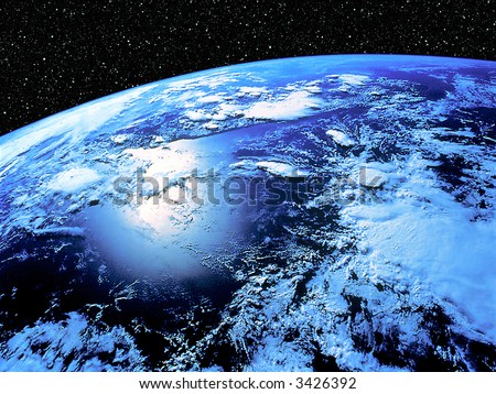 Earth with star scape background
