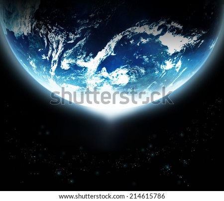 Stock Photo Earth with sun rising from space - original image from NASA.gov